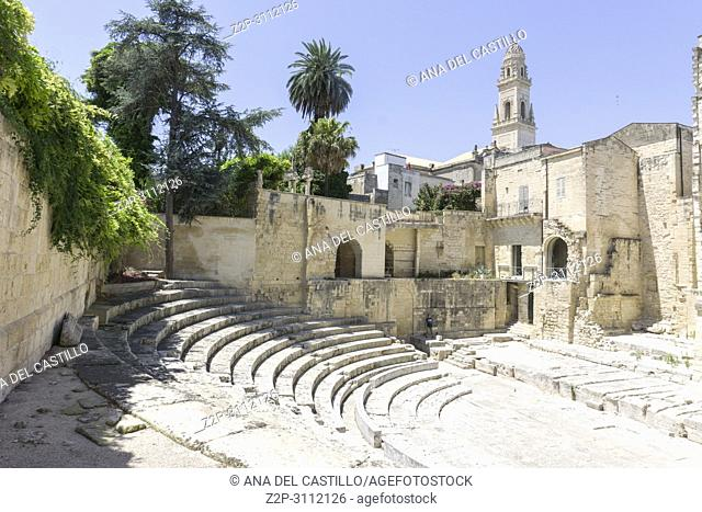 Cityscape in Lecce on July 13, 2018 Puglia Italy. Ancient amphitheater