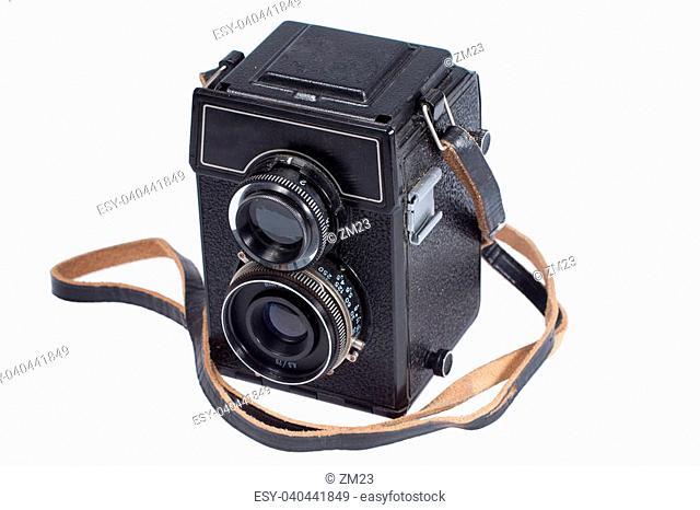 Antique Old Photo Camera isolated on white