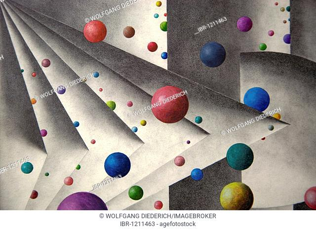 Pencil drawing, geometrical forms with colourful balls, by the artist Gerhard Kraus, Kriftel, Germany