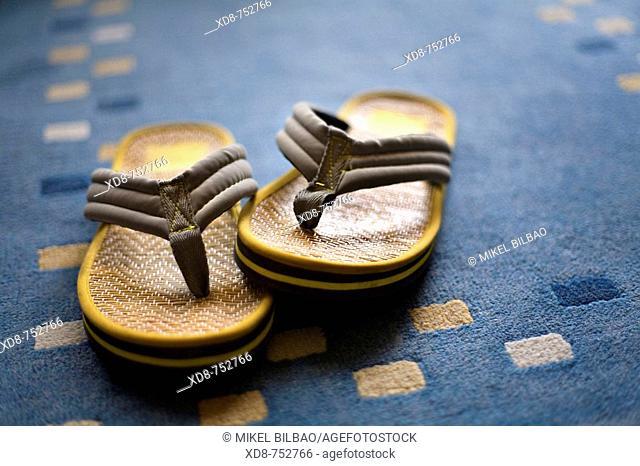 Sandal pair over a carpet