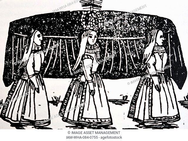 Woodblock print of three maidens. Dated 14th Century