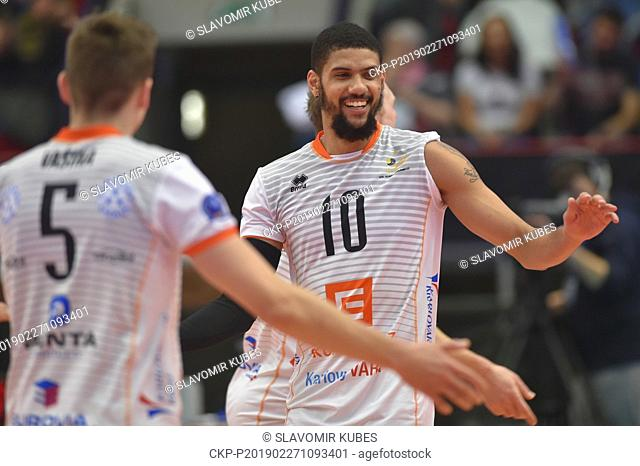 L-R Lukas Vasina and Jalen Penrose (both Karlovarsko) are seen during the 6th round group B of volleyball Champions League match Karlovarsko vs Modena in...