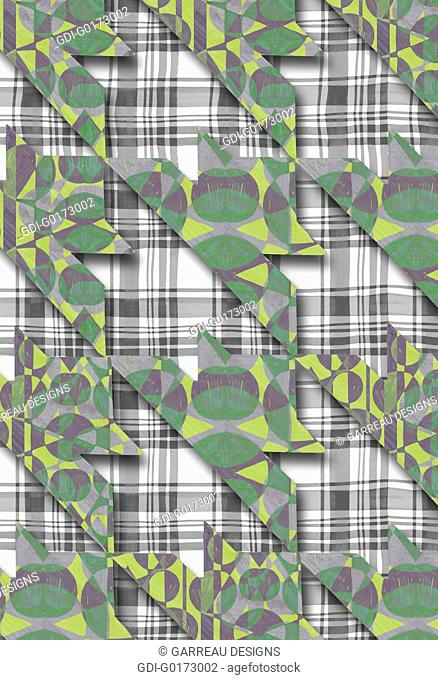 Patterned houndstooth over plaid background