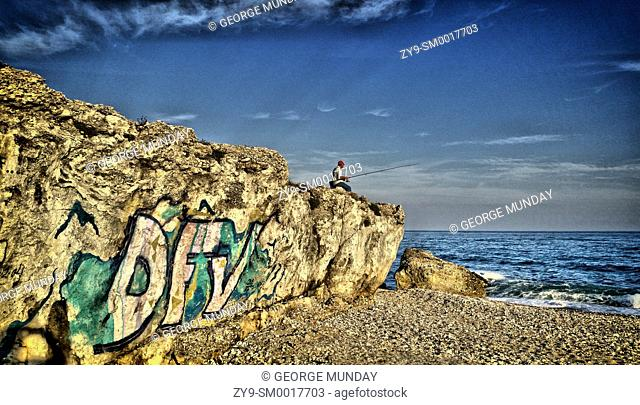 Fishing or Angling near the Torrox Costa Balcon,. Costa Del Sol, Malaga Province, . Andalucia, Spain