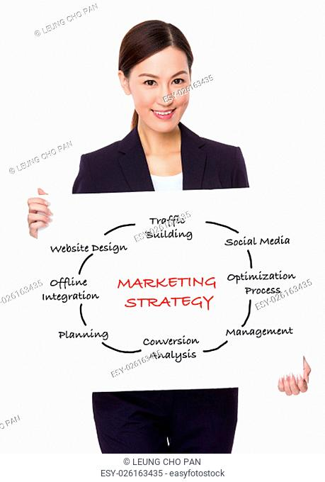 Businesswoman hold with a board showing marketing Strategy concept