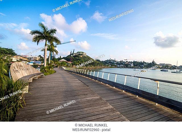 Promenade at Magenta port against sky during sunset, Noumea, New Caledonia