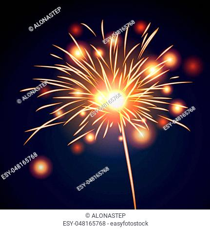 Firework bursting sparkle background. Isolated gold colorful night fire, beautiful explosion for celebration, holiday, Christmas, New Year, birthday