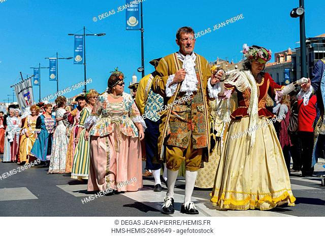 France, Herault, Sete, Escale a Sete Festival, costume parade a notable recovery of the seventeenth century