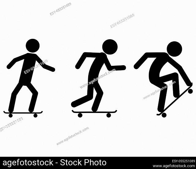 Piktogramm Skateboard fahren - Pictogram of skating in summer