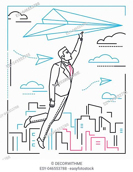 Businessman flying on a paper plane - line design style illustration on white background with silhouettes of clouds, city buildings
