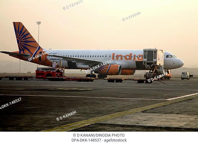 Indiana VT-ESF air bus A320 is preparing to take off on runway at Chattrapati Shivaji Terminal ; Santacruz ; Bombay now Mumbai ; Maharashtra ; India