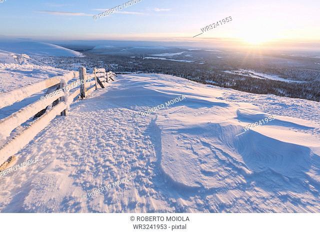 Frozen fence in the snow, Pallas-Yllastunturi National Park, Muonio, Lapland, Finland, Europe