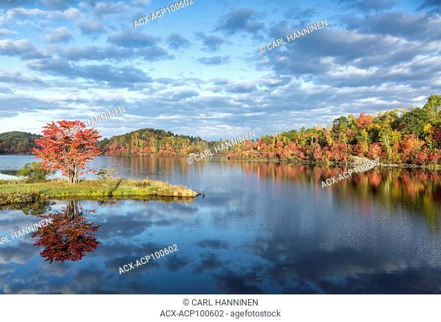 Autumn morning, St. Poithier Lake, Whitefish, Ontario, Canada