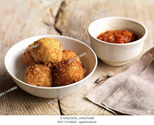 Arancini – fried rice balls with spicy tomato sauce