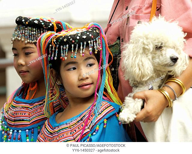 Young children in traditional costumes , dance and drama performers at wat phrathat doi suthep, chiang mai , northern thailand