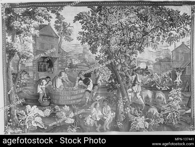 Autumn from a set of The Seasons. Maker: Weaving workshop directed by John Chabanex (French, active before 1696-1744); Artist: After a painting by Murillo (Alte...