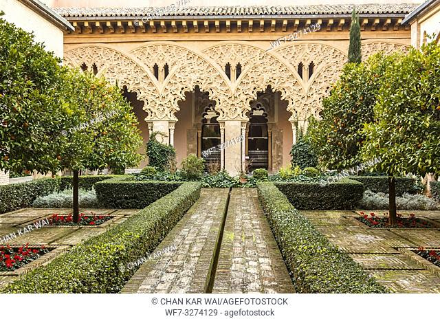 Zaragoza, Spain - Jan 2019: The courtyard of Santa Isabel at Aljaferia Palace