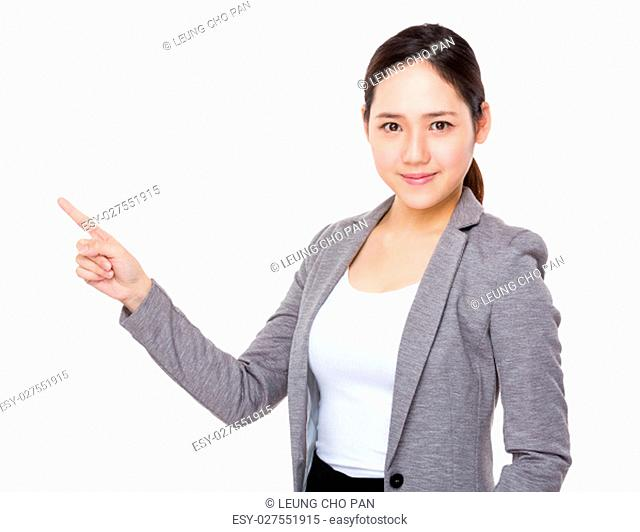 Asian businesswoman finger point up
