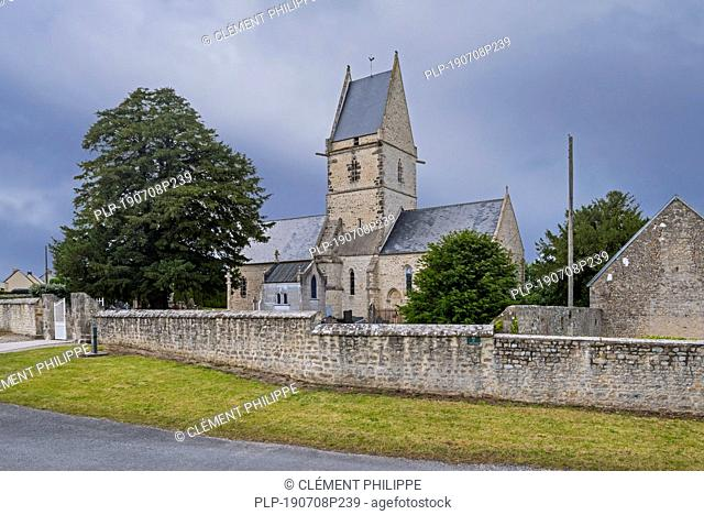 Church église Saint-Côme-et-Saint-Damien, used by two US Army Medics as a first-aid post during WW2 at Angoville-au-Plain, Manche, Normandy, France