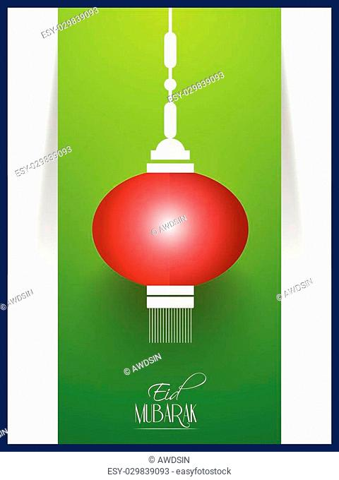 nice and beautiful vector abstract for Eid Mubarak with nice and creative hanging lantern illustration in a green coloured background