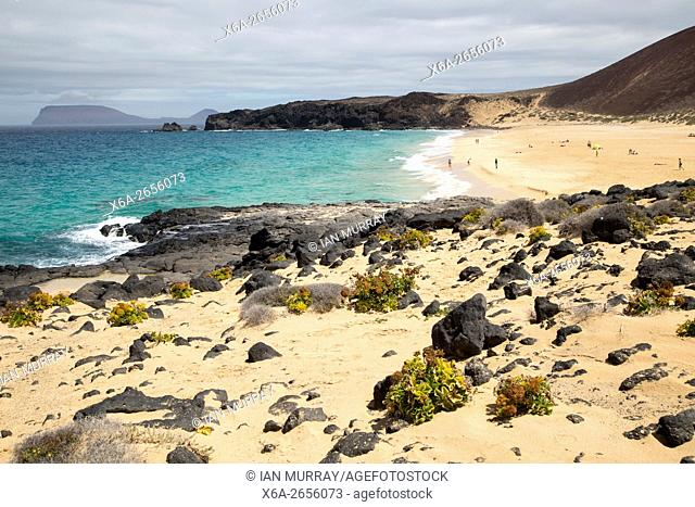 Sandy beach Playa de las Conchas, Graciosa island, Lanzarote, Canary Islands, Spain
