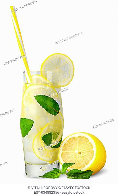 Glass of lemonade with straw isolated on white background
