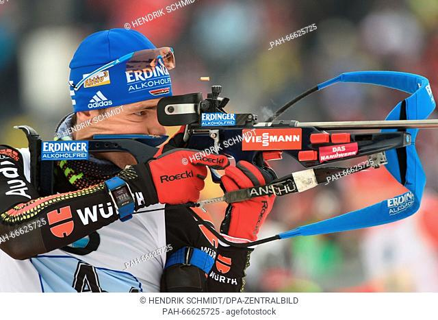 Arnd Peiffer of Germany at the shooting range before the Men's 4x7.5 km relay competition at the Biathlon World Championships, in the Holmenkollen Ski Arena