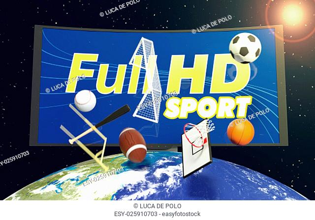 curved tv with full hd on screen, on top of a world globe, with symbols of various sports falling from the sky, concept of worldwide broadcast (3d render)-...