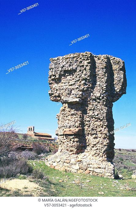 Ruins of the aqueduct. Tiermes Archaeological Site, Soria province, Castilla Leon, Spain