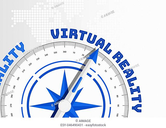 Virtual reality concept with compass pointing towards text