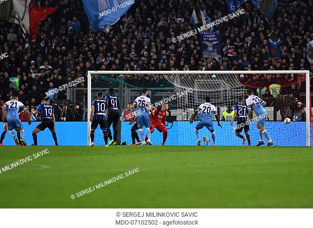Lazio football player Sergej Milinkovic Savic score the goal during the final Tim Cup match at the Olimpic stadium. Rome (Italy) May 15th, 2019
