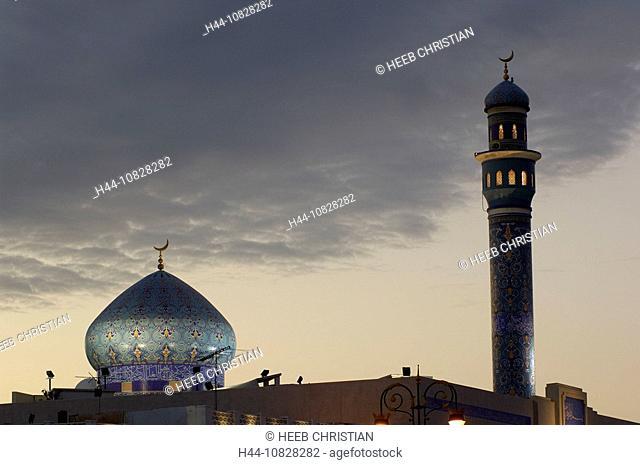 mosque, dome, minaret, religion, dusk, twilight, at night, night, Muttrah, courage yard, Maskat, architecture, Muscat