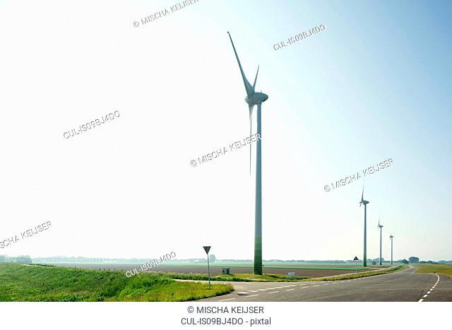 Windfarm on spring morning, Dordrecht, Zuid-Holland, Netherlands