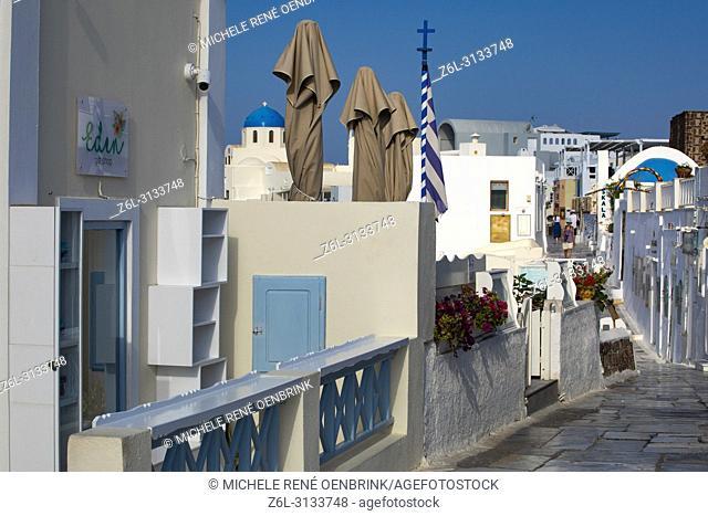 Shopping the streets of Oia Santorini Greece