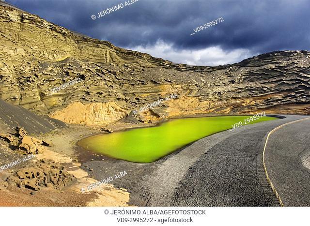 Green Lagoon, Lago de los Clicos. Beach, El Golfo. Lanzarote Island. Canary Islands Spain. Europe