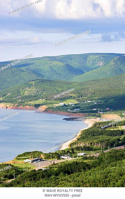 View of village and Gulf of St  Lawrence, Cape Breton Highlands National Park, Nova Scotia, Canada