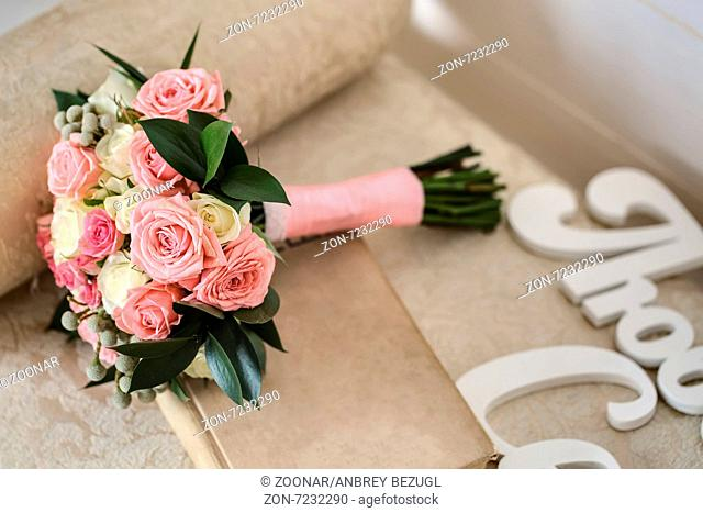 Wedding bouquet in the style of provence. Decor of the wedding banquet hall