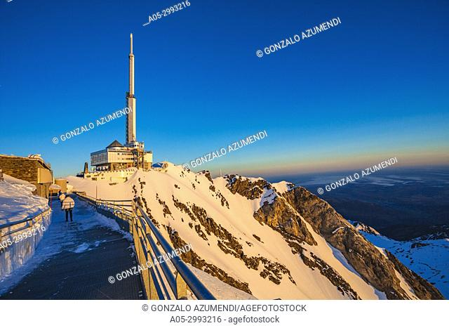 Pic du Midi de Bigorre. Pic du Midi observatory. Grand Tourmalet ski area. Luz-Saint Sauveur. Hautes-Pyrenees Department. Midi-Pyrenees Region. France