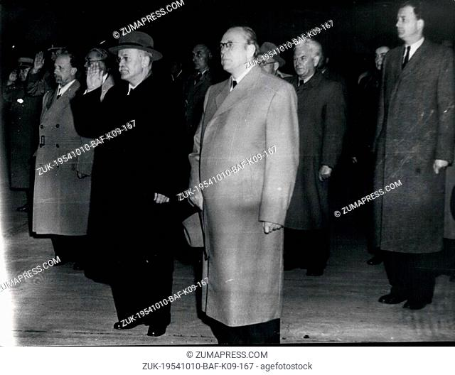 Oct. 10, 1954 - Soviet Secretary of State W.M. Molotow arrived in East Berlin for the celebration of the 5 year anniversary of the founding of the DDR