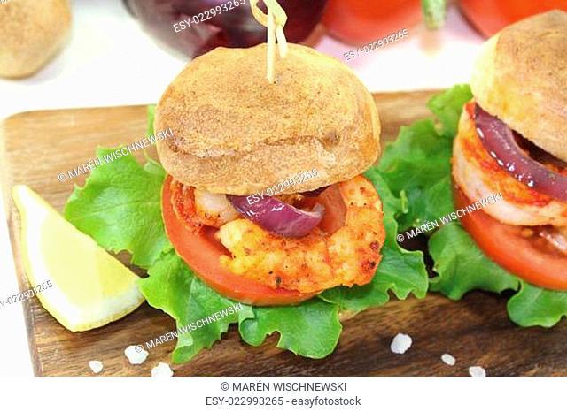 bunter gesunder köstlicher Garnelenburger