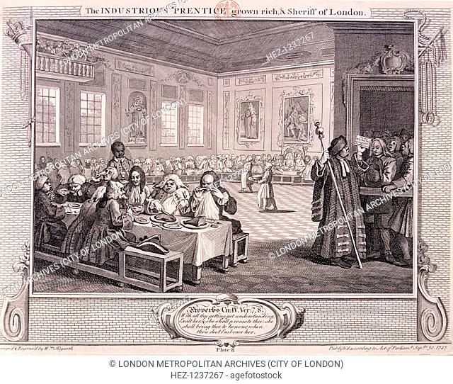 'The industrious 'prentice grown rich and sheriff of London', plate VIII of Industry and Idleness, 1747; the scene is old Fishmongers Hall