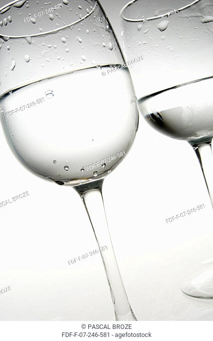 Close-up of two glasses of mineral water