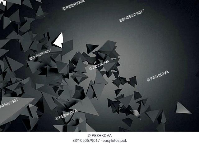 Abstract black polygonal wallpaper. Art, creativity concept. 3D Rendering