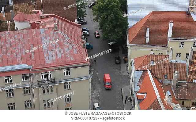 Estonia , Tallin City , The Upper and Lower Old Towns from San Oslav Tower