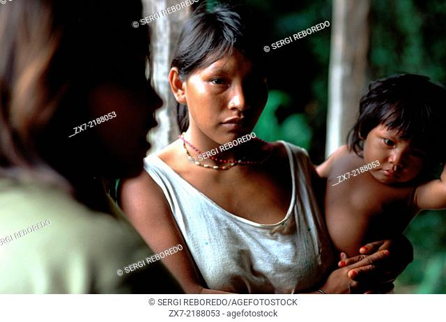 A family of Warao Indians in the Orinoco delta. The Warao are an indigenous people inhabiting northeastern Venezuela and western Guyana
