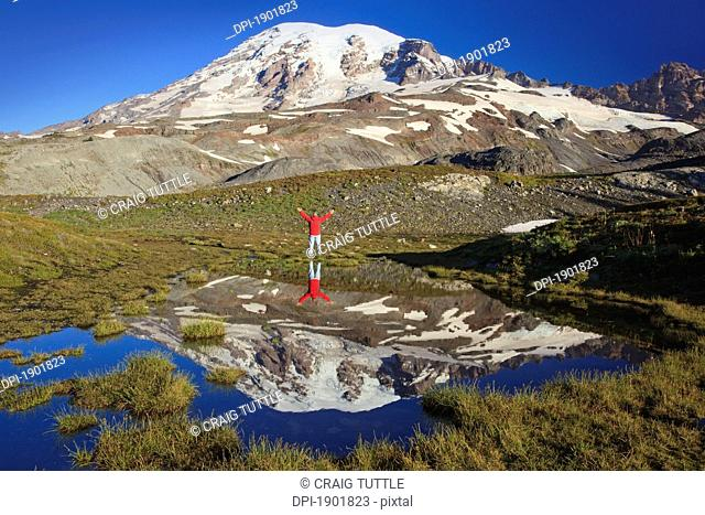 a person standing with arms raised on the shore of an alpine pond with mount rainier in the background in mount rainier national park, washington