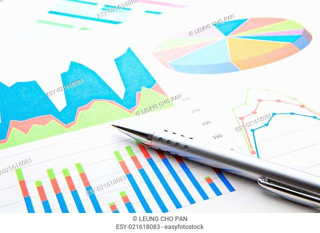 Business chart with pen