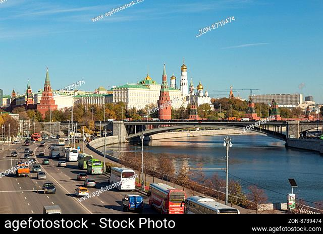 Moscow, Russia - October 29, 2015: Moscow Kremlin and Moskva river