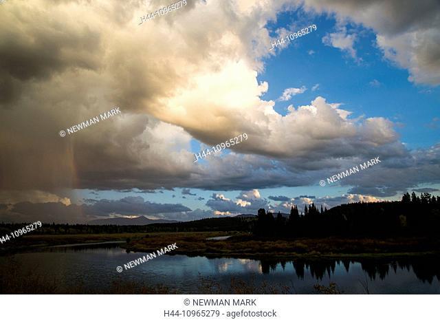 Grand Teton, mountain, landscape, national park, Wyoming, USA, United States, America, clouds