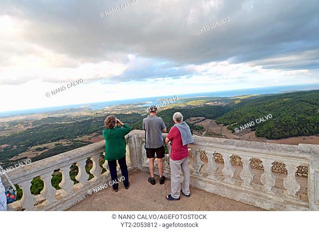 Tourists watch the views and sunset from Mount Toro (Monte Toro), Menorca